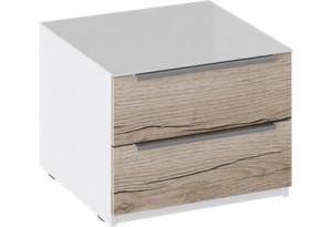 Тумба прикроватная с 2 ящиками «Синди» (Белый глянец/Дуб Делано)