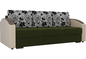 Прямой диван Монако slide Зеленый/Бежевый (Микровельвет/Экокожа/флок на рогожке)