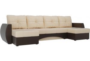 П-образный диван Сатурн бежевый/коричневый (Экокожа)