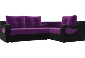 Угловой диван Митчелл Фиолетовый/Черный (Микровельвет)