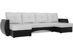 П-образный диван Сатурн Белый/Черный (Экокожа)