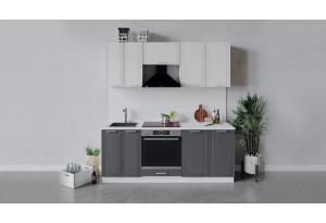 Кухонный гарнитур «Ольга» длиной 200 см со шкафом НБ (Белый/Белый/Графит)