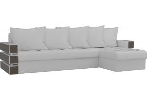 Угловой диван Венеция Белый (Экокожа)