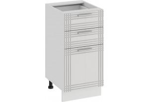 Шкаф напольный с тремя ящиками «Ольга» (Белый/Белый)