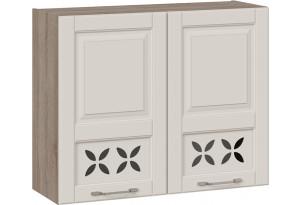 Шкаф навесной c декором (СКАЙ (Бежевый софт))