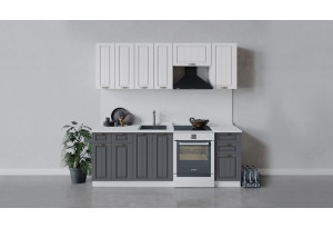 Кухонный гарнитур «Лина» длиной 220 см (Белый/Белый/Графит)