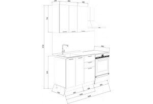 Кухонный гарнитур «Лорас» длиной 100 см (Белый/Холст белый)