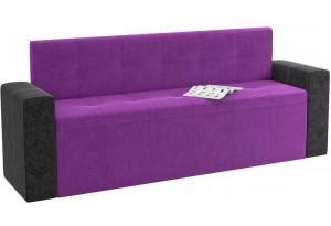 Кухонный прямой диван Династия Фиолетовый/Черный (Велюр)