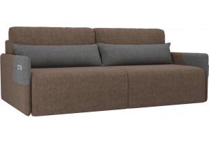 Прямой диван Армада коричневый/Серый (Рогожка)