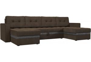 П-образный диван Атланта коричневый/Серый (Рогожка)