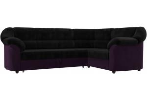 Диван угловой Карнелла черный/фиолетовый (Велюр)