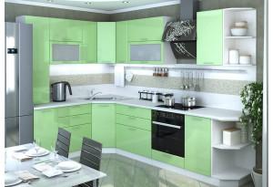 Кухня Ксения угловая 1750 х 2950 (модульная система), олива