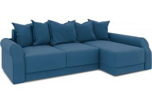 Диван угловой правый «Люксор Т2» Beauty 07 (велюр) синий