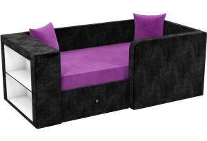 Детский диван Орнелла Фиолетовый/Черный (Микровельвет)