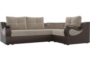 Угловой диван Митчелл бежевый/коричневый (Велюр/Экокожа)