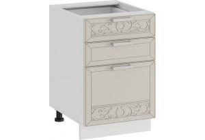 Шкаф напольный с тремя ящиками «Долорес» (Белый/Крем)