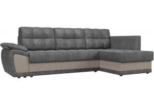 Угловой диван Нэстор прайм серый/бежевый (Рогожка)