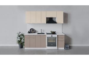 Кухонный гарнитур «Весна» длиной 220 см (Белый/Ваниль глянец/Кофе с молоком)