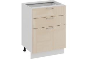 Шкаф напольный с тремя ящиками «Весна» (Белый/Ваниль глянец)