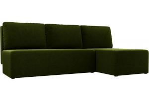 Угловой диван Поло Зеленый (Микровельвет)
