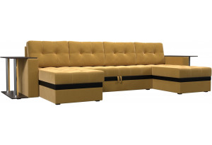 П-образный диван Атланта со столом Желтый (Микровельвет)