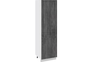 Шкаф пенал с 2-мя распашными дверями (ПРОВАНС (Белый глянец/Санторини темный))