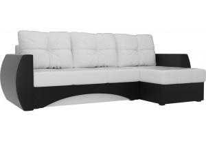 Угловой диван Сатурн Белый/Черный (Экокожа)