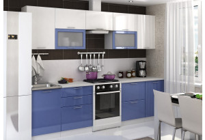 Кухня Ксения 2,8 м (модульная система), сизый/белый глянец