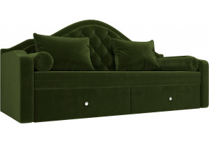 Прямой диван софа Сойер Зеленый (Микровельвет)