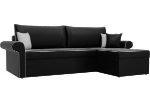 Угловой диван Милфорд Черный (Экокожа)
