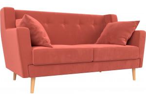 Прямой диван Брайтон 2 Коралловый (Микровельвет)