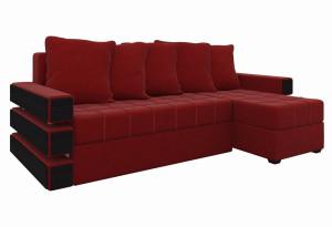 Угловой диван Венеция Красный (Микровельвет)