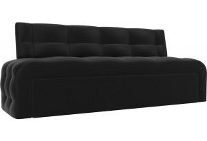 Кухонный прямой диван Люксор Черный (Экокожа)