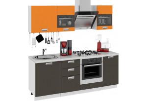 Кухонный гарнитур длиной - 210 см (со шкафом НБ) БЬЮТИ (Оранж)/(Грэй)