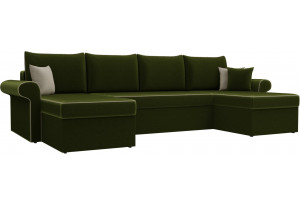 П-образный диван Милфорд Зеленый (Микровельвет)