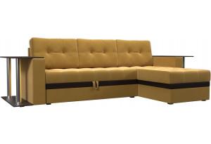 Угловой диван Атланта М 2 стола Желтый (Микровельвет)