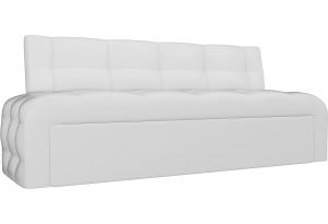 Кухонный прямой диван Люксор Белый (Экокожа)