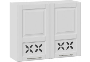 Шкаф навесной c декором (СКАЙ (Белоснежный софт))