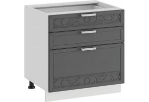 Шкаф напольный с тремя ящиками «Долорес» (Белый/Титан)