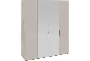 Шкаф комбинированный с 2 глухими и 2 зеркальными дверями «Эмбер» (Баттл Рок/Серый глянец)