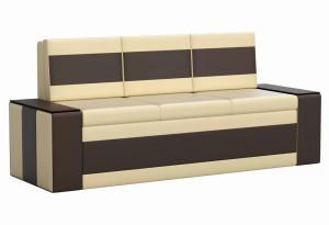 Кухонный прямой диван Лина бежевый/коричневый (Экокожа)