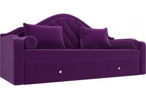 Прямой диван софа Сойер Фиолетовый (Микровельвет)