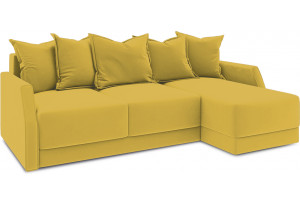 Диван угловой правый «Люксор Slim Т1» (Poseidon Curcuma (иск.замша) желтый)