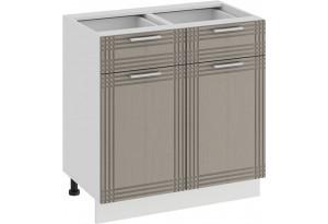 Шкаф напольный с двумя ящиками и двумя дверями «Ольга» (Белый/Кремовый)