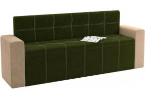Кухонный прямой диван Династия Зеленый/Бежевый (Велюр)