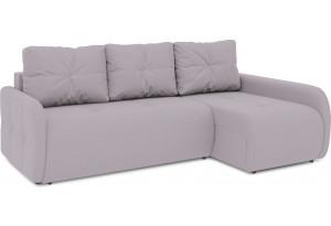Диван угловой правый «Томас Slim Т2» (Poseidon Pale Lavender (иск.замша) бледно-лавандовый)