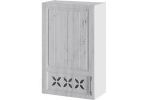 Шкаф навесной c декором (левый) (ПРОВАНС (Белый глянец/Санторини светлый))