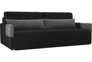 Прямой диван Армада черный/серый (Велюр)