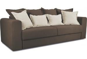 Диван «Раймонд» Galaxy 04 (велюр), темно-коричневый, подушка Galaxy 02 (велюр), бежевый