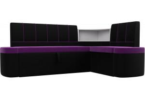 Кухонный угловой диван Тефида Фиолетовый/Черный (Микровельвет)